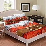 Greneric Juego de ropa de cama de 3 piezas, juego de sábanas bajeras y fundas de almohada, diseño de Papá Noel, color marrón, rojo, tamaño King