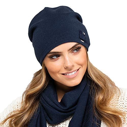 Kamea Damen Mütze Kopfbedeckung Herbst Winter Indiana, Dunkelblau,Uni