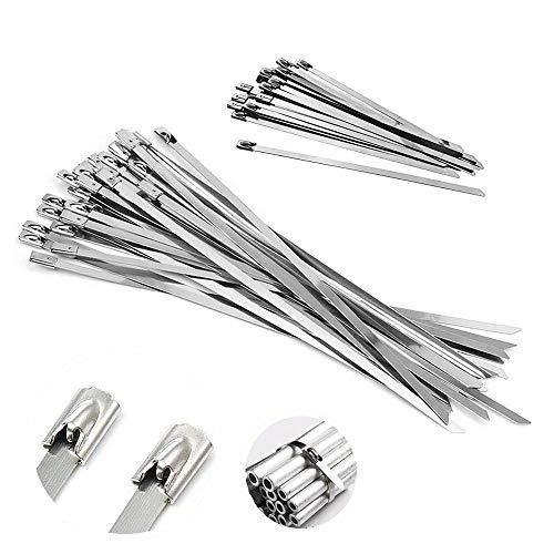 GOLRISEN Bridas Metalicas, 50 unids Cable Lazos en Dos Longitudes, Bridas de...