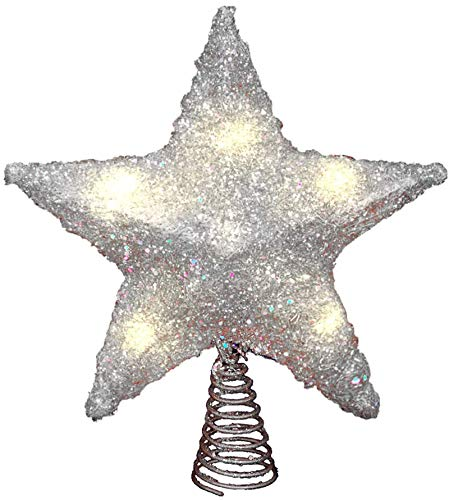 LAWOHO Christmas Tree Topper Star 10 Inch Glittering Silver Xmas Tree Ornament Indoor Party Home Decoration Fit for Ordinary Size Christmas Tree