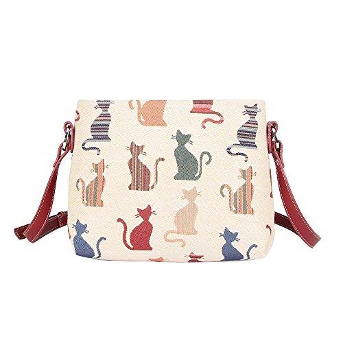 Signare Tapisserie Kleine Handtasche Damen, Umhängetasche Damen, Schultertasche Damen (Freche Katze)