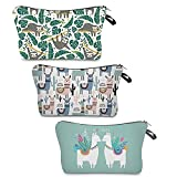 3 Piece Makeup Bag Portable Travel Cosmetic Bag with Zipper for Women, 3 Styles Llama Alpaca Sloth Patterns Waterproof Travel Toiletry Bag Purse Make Up Pouches Organizer Accessories for Girls Gifts