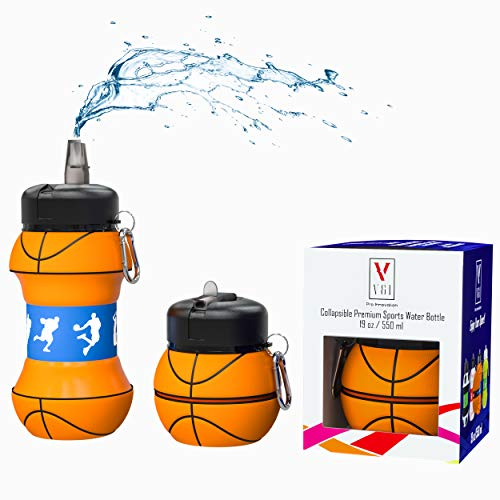 Kids Sports Water Bottle Collapsible Ball Shaped Drinking Cup Leak Proof School Lunch Mug Shockproof Squeezable Basketball Baseball Tennis Soccer Golf Volleyball Team Jug Gift Idea (Basketball)