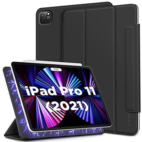 EasyAcc Magnetisch Hülle Kompatibel mit iPad Pro 11 2021/2020, Ultra Dünn Cover Kompatible Apple Pencil 2 mit Standfunktion Auto Sleep/Wake Up Schutzhülle, Schwarz