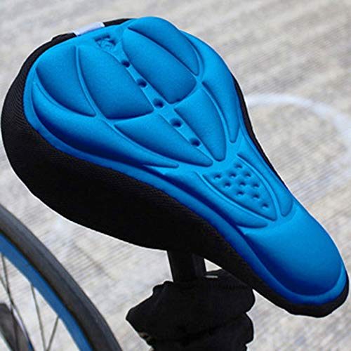 MTB Bicicleta de montaña Ciclismo Espesado Silicone 3D Gel Pad Cushion Cubierta de cojín Sillín de Bicicleta Sillón 4 Colores Yixianjiacheng (Color : Blue)