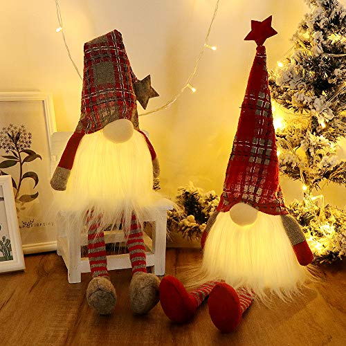 GMOEGEFT Scandinavian Christmas Gnome Lights Timer, Swedish Santa Tomte Gnome with Dangling Legs, Set of 2 Nordic Xmas Decoration - 27 x 4.8 Inch (Plaid Pattern)