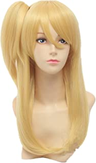 7buy Yellow Cosplay Wigs with Ponytail,soft Touch Heated Resistant Hair with Free Wig Cap