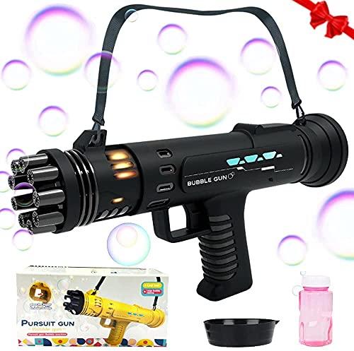 SPECOOL Pistola a Bolle, Macchine per Bolle Macchina Automatica per la creazione di Bolle a 8 Fori Pistola a Bolle per Bambini Giocattoli all'aperto per Ragazze dei Ragazzi (Black)