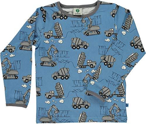 Smafolk Langarmshirt blau mit Baumaschinen Größe 110/116
