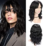 WIGNEE 100% Virgin Human Hair Natural Wave Wigs with Bangs Brazilian Human Hair Wave Wigs Natural Black Color (14 Inch)