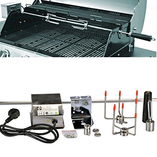 DRULINE Grillspieß Set, 120 cm, inkl. Edelstahl Motor, 220V - 240V, inkl. 2 Stück Fleischklammern, Rotisserie, Drehspiess aus Metall verchromt, Spiess Set, elektrischer Drehspiess