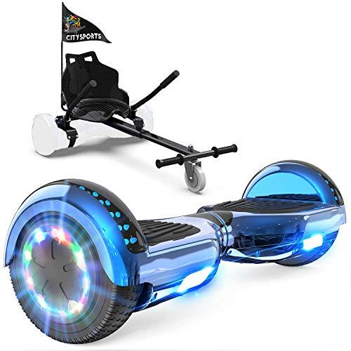 GeekMe Patinete Eléctrico Auto Equilibrio con Hoverkart, Hover Scooter Board, Balance Board + Go-Kart 6.5 Pulgadas con Bluetooth, Luces LED, Regalo para Niños, Adolescentes y Adultos (blue2)