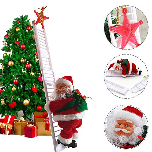 BERNIE ANSEL Electric Climbing Ladder Rope Santa Claus Doll Christmas Figurine Ornament Santa Climbing Ladder to Tree