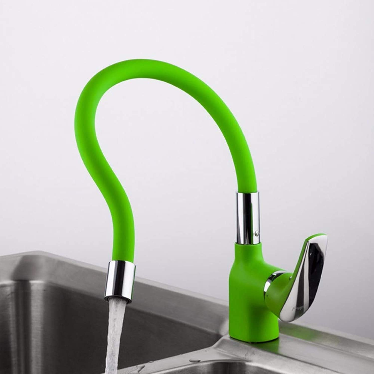 Faucet Green Silica Gel Nose Any Direction Kitchen Faucet Cold and Hot Water Mixer