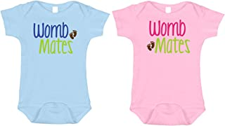 womb mates twin onesies