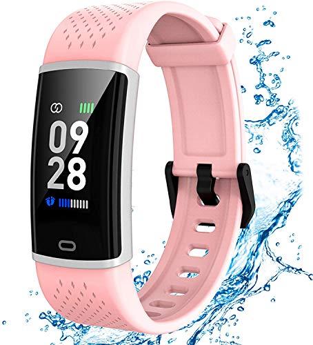 Fitness Armband mit Pulsmesser Smartwatch Fitness Tracker Wasserdicht Fitness Uhr Schrittzähler Pulsuhr Sportuhr für Damen Herren Kinder Android IOS Handy
