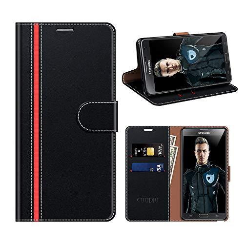 COODIO Housse Cuir Samsung Galaxy Note 3, Étui Coque en Cuir Samsung Note 3, Rugged Housse Portefeuille Magnétique/La Fonction Stand pour Samsung Galaxy Note 3, Noir/Rouge
