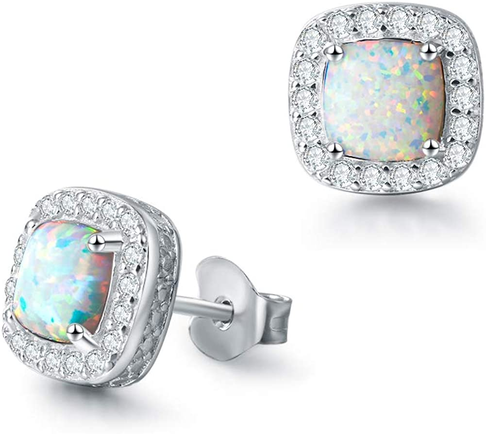 October Birthstone Sterling Silver Created White Opal Necklace//Earrings Halo Pendant Stud Leverback Dangle Cubic Zirconia CZ Fire Opal Fine Jewelry for Women