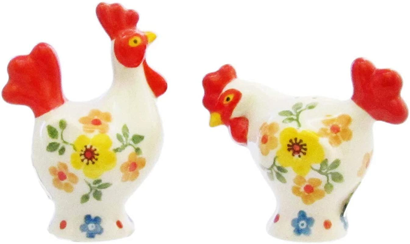 Polish Pottery HEN AND ROOSTER SALT AND PEPPER SET OF 2 D62 63 2225X