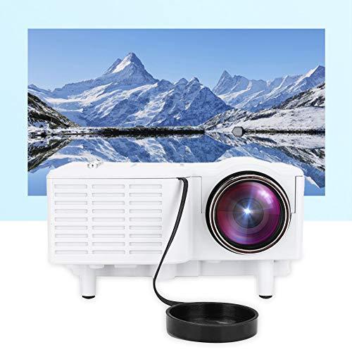 Bewinner Proyector portátil, HD 1080P LED Mini proyector de cine en casa con cable 400 Lux Compatible con HDMI / VGA / AV / USB / SD y enchufe de 110-240V UE (Blanco)