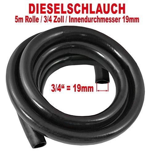 Dieselschlauch, Benzinschlauch für Dieselpumpe Heizölpumpe Biodieselpumpe Ölpumpe, Wasserpumpe, Ölschlauch Gummi- Spiralschlauch Saug-/Druckschlauch, (5m Rolle - Gummi-Schlauch für 3/4