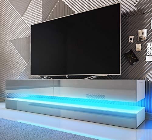 GuenstigEinrichten TV-Unterteil Bird grau/weiß - TV-Lowboard inkl. LED Beleuchtung 140 x 45 cm Fernsehtisch 2-teilig