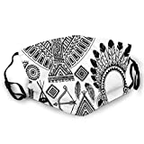 2021 Fashion Comfortable Windproof mask,Native American Feather Head Band Teepee Tent Bow And Arrow Art Print,Printed Facial decorations for adult