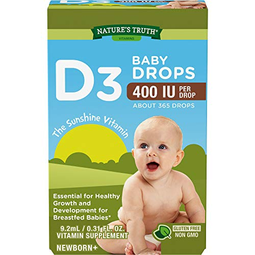 Nature's Truth Vitamin D Drops for Infants | 400 IU | 9.2 mL | D3 Drops for Kids | Vegetarian, Non-GMO, Gluten Free