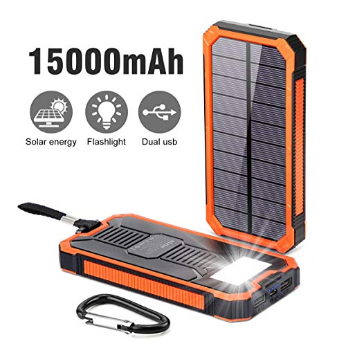 Solar Charger 15000mAh,Elzle Outdoor Portable Power Bank,Solar Power Bank Waterproof, Solar Phone Charger, Fast Charge Dual USB Solar Battery Bank Pack with Compatible for Smartphones Tablet