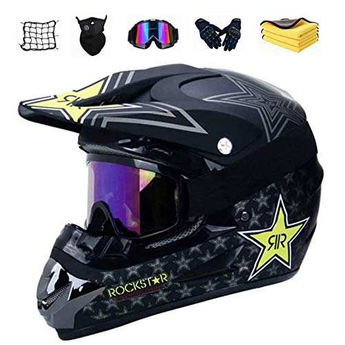 Motocross Helm Set mit Brille Handschuhe Maske Korallenvlies Handtuch Motorrad Netz, Jugend Sturzhelm Schutzhelm, Adult Downhill Helme Endurohelme Kinder Quad Bike ATV Go-Kart-Helm (B,L)