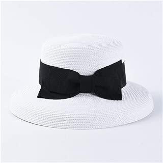 SHENTIANWEI Retro Hepburn Bell-Shaped Bow Straw hat Female Japanese fine Paper 辫 Big Visor Sun hat (Color : White)