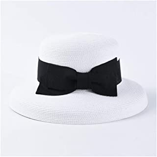 SHENTIANWEI Retro Hepburn Bell-Shaped Bow Straw hat Female Japanese fine Paper 辫 Big Visor Sun hat (Color : White)