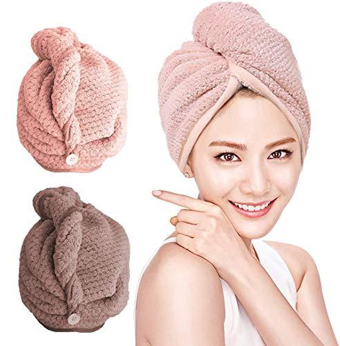 O-Kinee Haarturban, Turban Haartrockentuch 2 Stück, Mikrofaser Handtuch Turban, Handtuch Kopftuch Schnelltrocknend saugfähig Haar Trocknendes Tuch für Mädchen Frauen