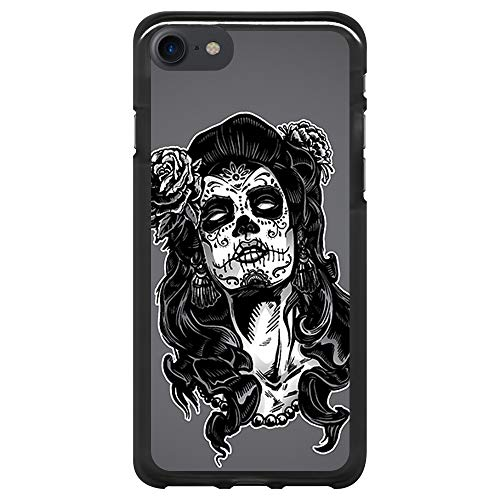 BJJ SHOP Custodia Nera per [ iPhone 7 / iPhone 8 ], Cover in Silicone Flessibile TPU, Design: Donna Giorno dei Morti