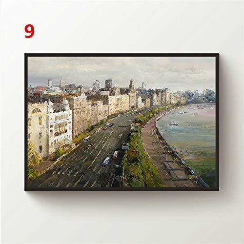 JackGo7 Landschaftszeichnung, Leinwand, Wandkunst, Gemälde, Poster, Kunstdruck, Heimdekoration, ungerahmt (40 x 60 cm)
