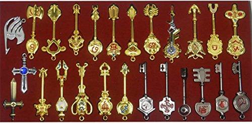 Teclas de Cosplay Fairy Tail nueva colección Set de 18Golden Zodiac llaves y llavero de £ ¬ Blade Lucy Natsu Dragneel corazón llavero colgante