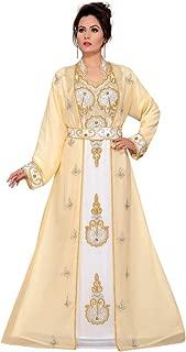 Women's Hand Bead Kaftan Long Sleeve Maxi Dress, Designer Look Chiffon Moroccan Caftan