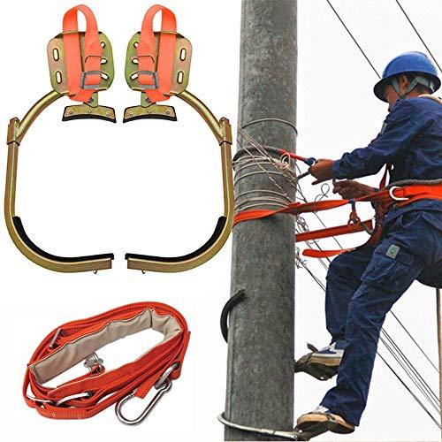 LIMEID Crampones Ligeros, Acero Inoxidable Grampones con el Juego Safe Belt, Profesional Herramienta para Trepar árboles para Escalar Observación de Caza Cosecha Fruta,650Mode