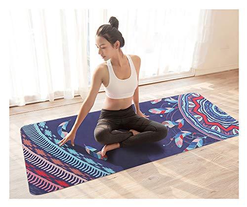 Esterilla de yoga de goma natural con impresión profesional antideslizante para hacer ejercicio, portátil, plegable, toalla fina para tienda de yoga, pilates, color C, tamaño Size