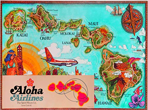 A SLICE IN TIME Aloha Airlines Hawaii Map United States Vintage Travel Home Collectible Wall Decor Advertisement Art Poster Print. 10 x 13.5 inches