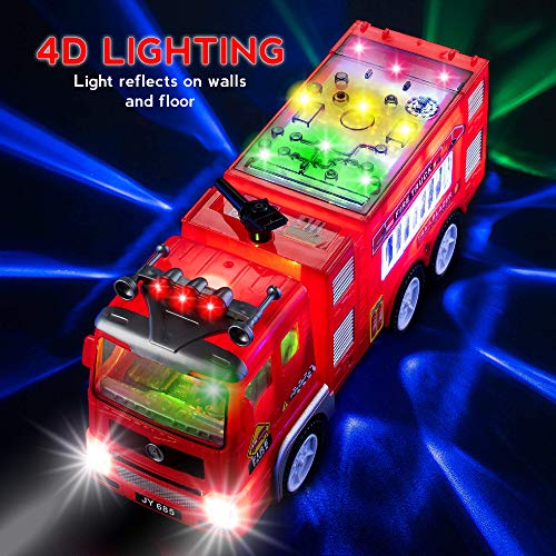 Electric Fire Truck Kids Toy - with Bright Flashing 4D Lights & Real Siren Sounds   Bump and Go Firetruck for Boys   Automatic Steering on Contact   Fire Engine Toy Trucks for Imaginative Play…