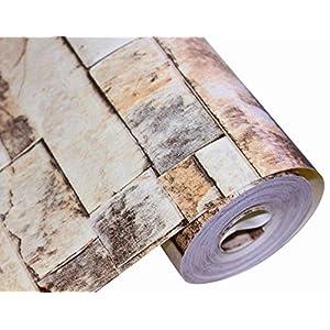 "HaokHome 91301 Modern Faux Brick Stone Textured Wallpaper Roll Beige/Grey/Brown Brick Blocks Home Room Decoration 20.8"" x 33ft"