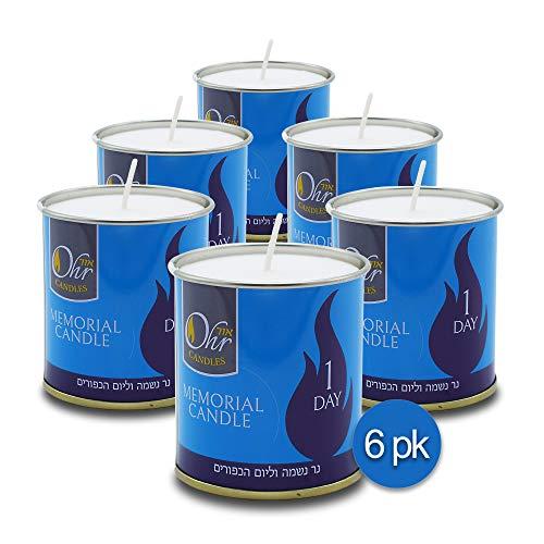 1 Day Yahrzeit Candle - 6 Pack - 24 Hour Kosher Yahrtzeit Memorial and Yom Kippur Candle in Tin Cup Holder