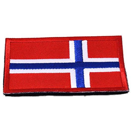 REFURBISHHOUSE National Flagge Stickerei 3D Abzeichen Patch Armband RüCkseite Patches Norwegen