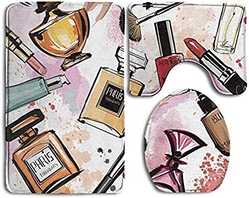 Bernice Winifred Badezimmerteppich Girly Kosmetik- und Make-up-Themenmuster mit Parfüm und Lippenstift Nagellackpinsel Modern City 3-teiliges Badematten-Set Konturteppich und Deckelabdeckung