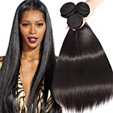 ANGIE QUEEN Peruvian Virgin Hair Straight Hair 3 Bundles Weaves 100% Unprocessed Human Hair Extentions Wefts Nature Black Color (18 18 18)