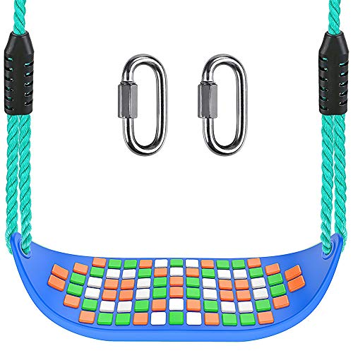 SELEWARE 17.5' X 6.3' Non Slip Plastic Swing Seat, Hanging Tree Swing Seat with Length Adjustable Nylon Rope and Stainless Steel Snap Hook Swing Set for Kid Indoor Outdoor Playground Backyard