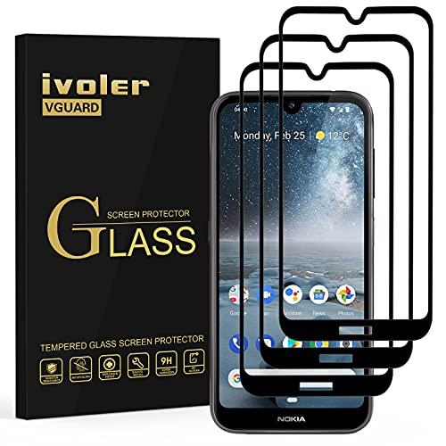 VGUARD [3 Stücke] Panzerglas Schutzfolie für Nokia 4.2, [Volle Bedeckung] Panzerglasfolie Folie Hartglas Gehärtetem Glas BildschirmPanzerglas für Nokia 4.2