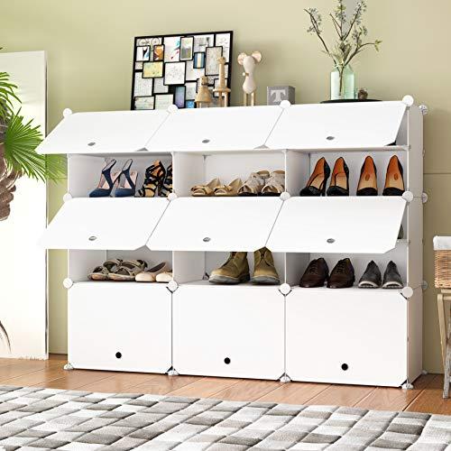 HOMEYFINE Zapatero, Sostén de Almacenamiento portátil de Zapatos, Cubos de Armario modulares para Ahorrar Espacio, Cajas de Almacenamiento de Zapatos y Zapatillas, Blanco(3/5)