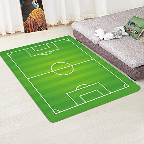 XuBa Alfombra antideslizante con diseño de campo de fútbol para el hogar, sala de estar, campo de fútbol 3, 80 x 120 cm